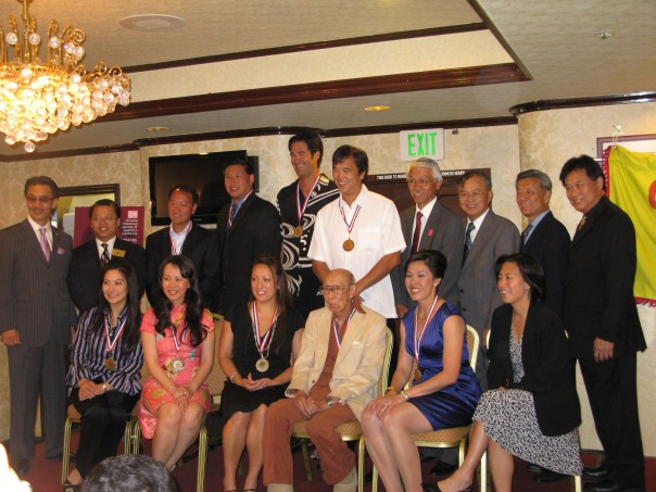 Top left to right: Emcee George Cheung, Monterey Park Mayer Mitchell Ing, Michael Chang, Kevin Wong,  Bottom left to right: Tiffany Chin, Annie Yee Cameron Inouye, Carol Jue, Kim Ng