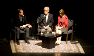 Roland Kelts interviewing Hayao Miyazaki at Zellerbach Auditorium in Berkeley. Photo by ghibliworld.com